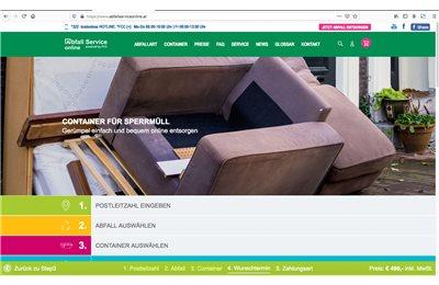 Neues Design, neue Regionen, bessere Bedienung und noch mehr Produkte: Das Facelift beim Abfall Service online